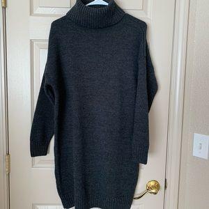 Topshop Dark Gray  Turtleneck Sweater Dress